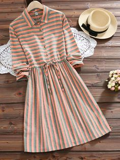 I found this amazing Striped Lapel Long Sleeve Drawstring Women Dresses : fashion style outfit ideas outfit inspo shop outfits online shop new outfits purchase outfits shopping clothes summer summer tops for women buy outfits Spring Dresses Casual, Stylish Dresses, Stylish Outfits, Modest Dresses, Pretty Dresses, Fall Dresses, Wedding Dresses, Stylish Dress Designs, Designs For Dresses