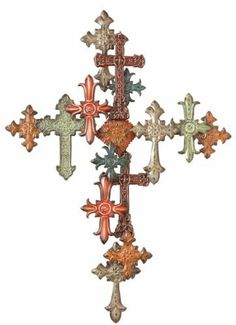 """40"""" Religious Multi-Color Cross Collage Wall Sculpture by Midwest CBK. $112.50. Cross Collage Wall Decor Item #18539 Embossed cross on cross design Distressed multi-color finish Dimensions: 29.25""""L x 2""""W x 40.5""""H Material(s): Iron"""