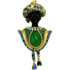 Vintage BOUCHER Blackamoor with Turban Inset Jade Sapphire Emerald Pendants Brooch Pin