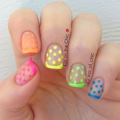 Neon french and polka dots over clear glitter. I would pick one color for all the nails. I am partial to the pink...