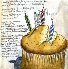 """This is pretty much how we sing """"Happy Birthday"""" too. Even the cha-cha-chas. This is pretty much how we sing """"Happy Birthday"""" too. Even the cha-cha-chas. Artist Journal, Art Journal Pages, Art Journals, Watercolor Journal, Watercolor Cards, Watercolour, Sketchbook Inspiration, Art Sketchbook, Food Illustrations"""