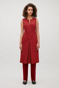 COS image 1 of Sleeveless dress with front pleat in Red