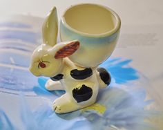 Bunny Egg Cup Vintage 1950s Japan by StarfishCollectibles on Etsy, $5.00