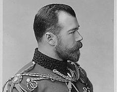 Handsome Man Profile Portrait Beard Uniform Edwardian Mustache Bearded Nicholas II Last Russian Tsar Black White Vintage Photography Photo
