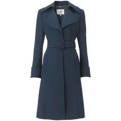 Lk Bennett Tevis Manteau bleu canard en laine (€10) ❤ liked on Polyvore featuring coats