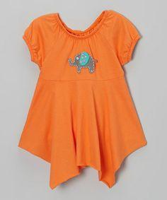 Inspiration - Love this Orange Elephant Sidetail Tunic - Toddler & Girls on #zulily! #zulilyfinds