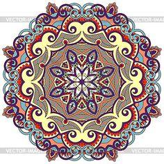 Круглый орнамент с декоративными кружевами - графика в векторе