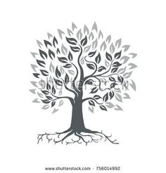 Stylized Oak Tree with Roots Retro Stationery - oak gifts tree leaves style nature gift idea cyo Tree Branch Tattoo, Palm Tree Tattoo Ankle, Tree Branch Decor, Pine Tree Tattoo, Book Christmas Tree, Red Maple Tree, Family Tree Poster, Tree Plan, Live Oak Trees