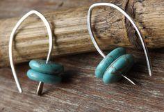 Turquoise Sterling Silver Earrings Modern Earrings by maryannefountain, $30.00