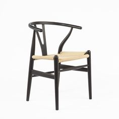 CH24 Wishbone Y Chair - Black with Natural Seat