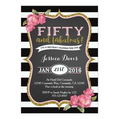 Fifty and fabulous birthday party invite 50 fifty forty sixty gold 50th birthday party invitation adult fifty invite filmwisefo