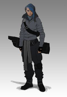 Keva Rossek--Costume (shorter hair and less guns)