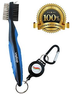 Golf Brush and Club Groove Cleaner - Easily Attaches to Golf Bag - Deep Clean Iron Grooves - Cleaning Club Face - Bag Clip & Retractable Extension Cord & Perfect Gift by Voplop, http://www.amazon.com/dp/B071L34DTV/ref=cm_sw_r_pi_dp_x_70wwzbKC4E346