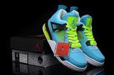 173c1748fe1 Nike Air Jordan 4 Custom Blue Yellow for Sale - Men Air Jordan 4