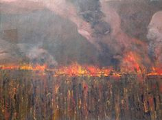 Burn off of the Cane Field, Northern Queensland acrylic on paper 68 x 96cm