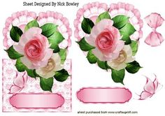 PINK ROSES ON A FRILL HEART OVER THE EDGE CARD on Craftsuprint - Add To Basket!