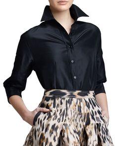 Classic Silk Taffeta Blouse, Black by Carolina Herrera at Neiman Marcus.