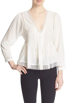 Rebecca Taylor Long Sleeve Lace Inset Top available at #Nordstrom