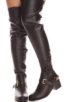Black faux leather over the knee boots with side zipper,buckle straps.