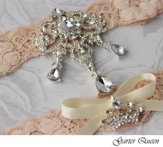 GARTER: Bridal Garter Wedding Garter Set Stretch Lace Keepsake and Toss Garters, Rhinestone and Crystal garters. $44.99, via Etsy.