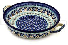 Polish Pottery Stoneware BAKER ROUND W/HANDLES