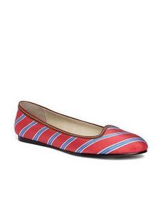Silk Tie Striped Ballet Flat