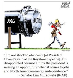 "Obama Vetoes the Keystone XL Pipeline Stating ""[T]his act of Congress conflicts with established executive branch procedures""  -- Funny that Mr. Obama is worried about conflicted with established separation of powers procedures yet is trying to scare Congress from asserting its constitutional power of the purse regarding homeland security funding."