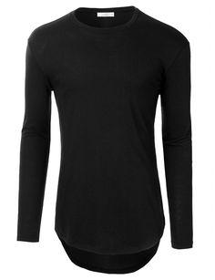 LE3NO Men Hipster Crewneck Long Sleeve Longline T Shirt with Zipper