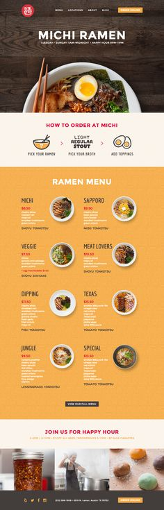Michi Ramen. Customize your own ramen. // Hi Friends, look what I just found on #web #design! Make sure to follow us @moirestudiosjkt to see more pins like this | Moire Studios is a thriving website and graphic design studio based in Jakarta, Indonesia.