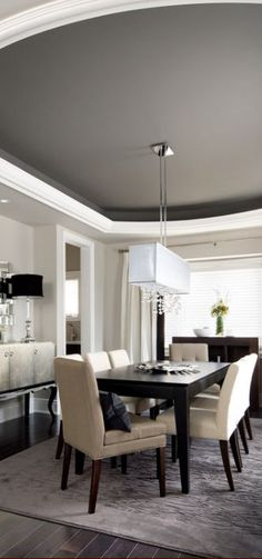 Big contrast = big space. This high ceiling with white outlining a darker gray gives a sit-down-and-stay feel #spacious #contrast