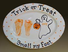 Footprints placed on ceramic plate. Perfect for Halloween.