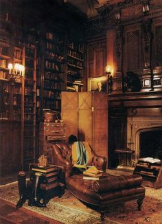 Timber and leather library # reading room # office
