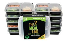 Meal Lab 3-Compartment BPA FREE Stackable Meal Prep Food Storage Containers with Lids Plastic Food Containers, Best Meal Prep Containers, Lunch Box Containers, Food Storage Containers, Bento Recipes, Vegan Recipes, Portion Control, Vegan Meal Prep, Vegan Meal Plans
