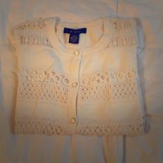 CREAM EYELET CARDIGAN Cream eyelet seater with cream buttons. 3/4 length sleeve. Soft fabric with crochet eyelet. 89th and Madison Sweaters Cardigans