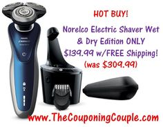 ***HOT DEAL ~ TODAY 11/10 ONLY*** Philips Norelco Electric Shaver 8900 Special Wet & Dry Edition JUST $139.99! Save $170.00! Click the link below to get all of the details about the deal ► http://www.thecouponingcouple.com/philips-norelco-electric-shaver-8900-special-wet-dry-edition/  #Coupons #Couponing #CouponCommunity  Visit us at http://www.thecouponingcouple.com for more great posts!