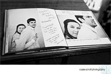 Fill an album with photos from your engagement, courtship or from both of your childhoods – and have your guests sign the pages around the photos.
