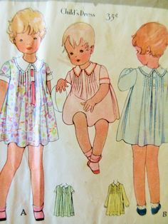 Vintage McCall 5991 Sewing Pattern, Little Girl's Dress, 1930s Dress Pattern, Pin Tucked Dress, Child's Frock Pattern, Chest 20, 30s Dress by sewbettyanddot on Etsy