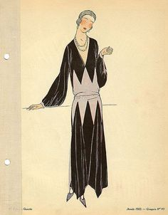 Unsigned black and pink dress, 1922