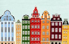 Stockholm, Swedish, Sweden, Buildings Scandinavian Design Colorful Illustration Art Print for Nursery, Home Decor, Wall Decoration