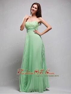 Apple Green Column Sweetheart Floor-length Chiffon Beading Prom / Evening Dress    http://www.fashionos.com  An empire cut prom dress has a high waistline and a long, full skirt that flows straight from this waistline. A sweetheart neckline accents with colored beads and a ruched band line to show your curve. The empire style camouflages a pear shape or thick waist and creates an illusion of height for short or petite figures.