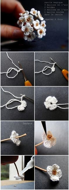 Tiny white crochet flowers US Terms: Magic circle, *chain 2 double crochet, c.:separator:Tiny white crochet flowers US Terms: Magic circle, *chain 2 double crochet, c. Crochet Diy, Diy Crochet Flowers, Crochet Motifs, Knitted Flowers, Crochet Flower Patterns, Love Crochet, Crochet Crafts, Double Crochet, Crochet Stitches