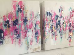 "Abstract art. Hot pink, navy, gold. 10""x10"" set $150. By Jenn Meador email to purchase jennmeadorpaint@gmail.com"