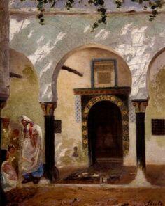 Algérie - Peintre Espagnol, Joseph SINTES (1829-1913),huile sur toile , Titre : Femme devant une maison à Alger