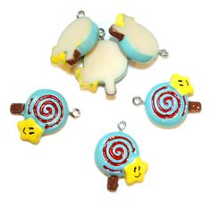 3 Cute Yummy Kawaii Resin Sunshine Blue Candy by FamousFindings