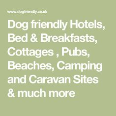 Dog friendly Hotels,  Bed & Breakfasts, Cottages , Pubs,  Beaches, Camping and Caravan Sites &  much more