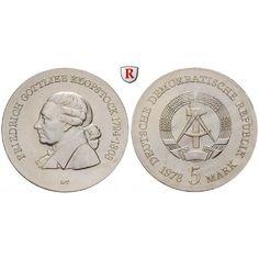 DDR, 5 Mark 1978, Klopstock, st, J. 1566: Kupfer-Nickel-5 Mark 1978. Klopstock. J. 1566; stempelfrisch 15,00€ #coins