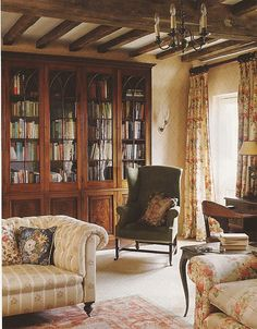 Country decor style bookcase, ceiling, chandelier, windows~English country decor