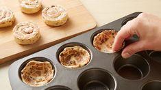 2-Ingredient Peach Pie Cups Recipe - Pillsbury.com Cinnamon Roll Cheesecake, Cinnamon Roll Dough, Pillsbury Cinnamon Rolls, Pillsbury Recipes, Cake Recipes, Dessert Recipes, Fun Recipes, Muffin Recipes, Sweet Recipes