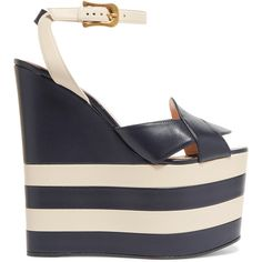 Gucci Two-tone leather wedge sandals (€730) ❤ liked on Polyvore featuring shoes, sandals, gucci, heels, strappy high heel sandals, wedge sandals, platform wedge sandals, heeled sandals and strappy sandals