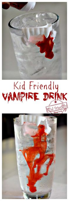 Kid Friendly Halloween Vampire Drink - Easy to make and fun too! Perfect for a Halloween Party or anytime - KidFriendlyThingsToDo.com